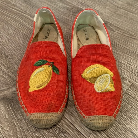 US Size Soludos lemon Embroidered Red canvas Espadrille Flat